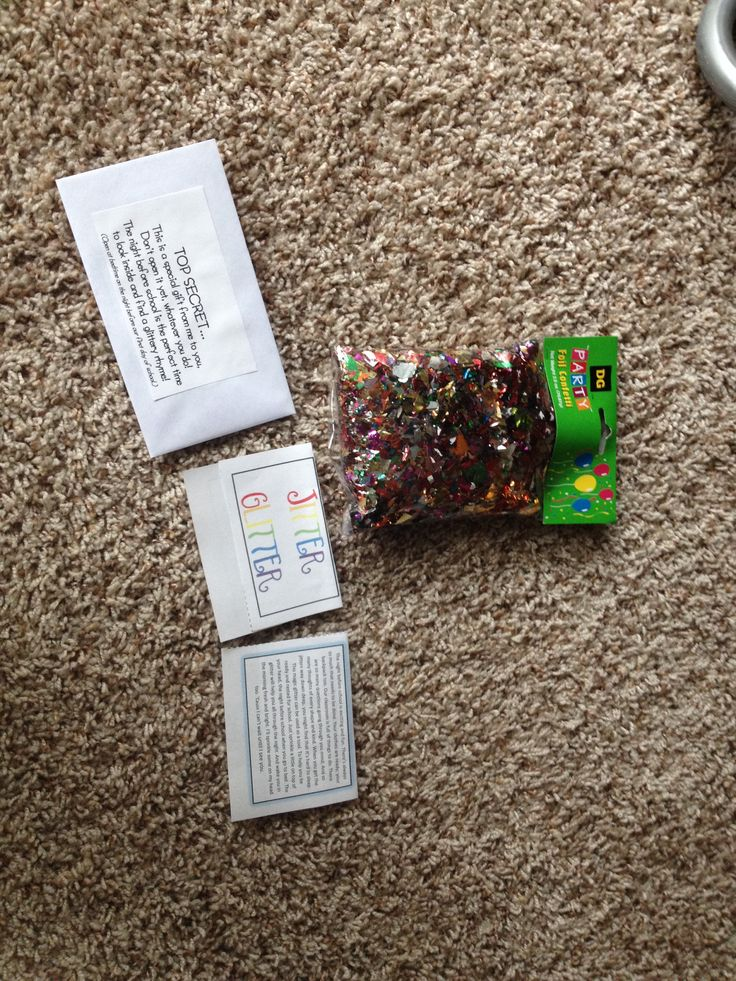 Jitter glitter poem and glitter in envelope  Party confetti from dollar general  Poem from teachers pay teachers