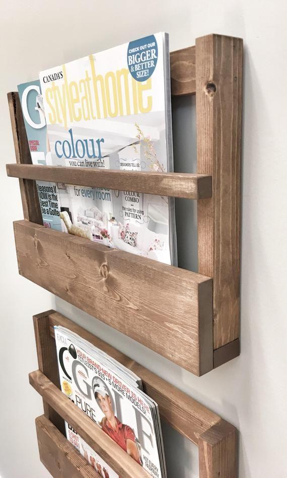 Rustic Wood Magazine Holder Magazine Storage Rack Wall Hanging