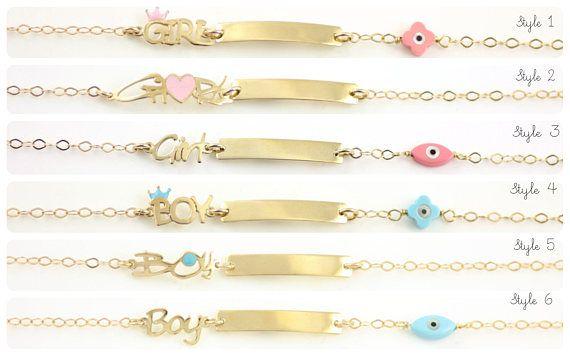 Children's ID Bracelet Kids Gold Bracelet Gold Engraved
