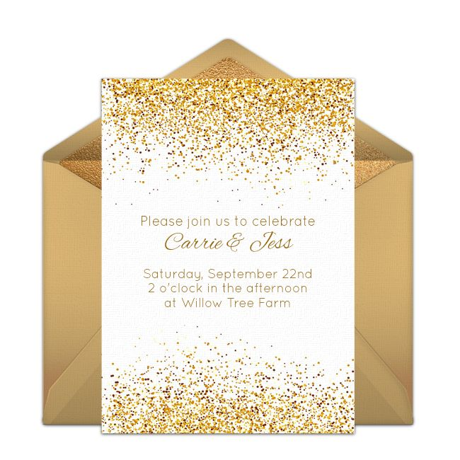 "We just love this free ""Golden Day"" party invitation with an intricate, gold-specked design. Perfect for hosting a wedding, birthday party, engagement party, and more."