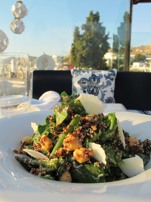 Quinoa with green beans, spinach, chickpea, parmesan & lemon - truffle vinaigrette