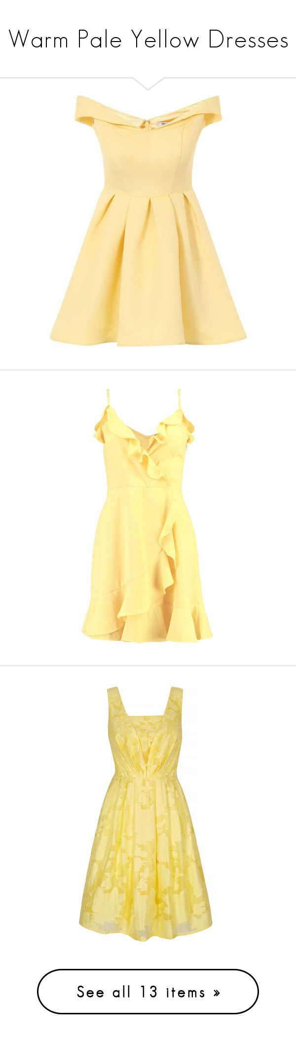 """""""Warm Pale Yellow Dresses"""" by tegan-b-riley on Polyvore featuring dresses, yellow dresses, yellow, pleated dresses, pleated midi dress, fitted tops, midi cocktail dress, calf length dresses, party dresses and midi wrap dress"""