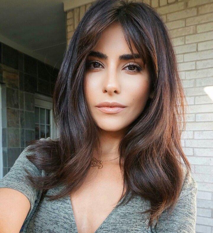 Hair Balayage warm brunette long bangs fringe face framing medium length layers middle part