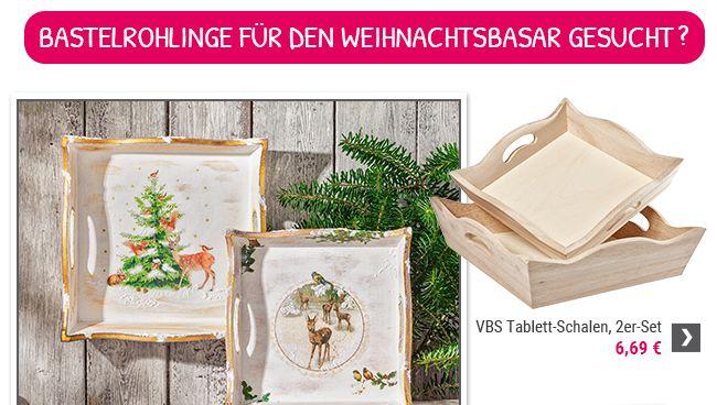 VBS Tablett-Schalen, 2er-Set, Rohholz