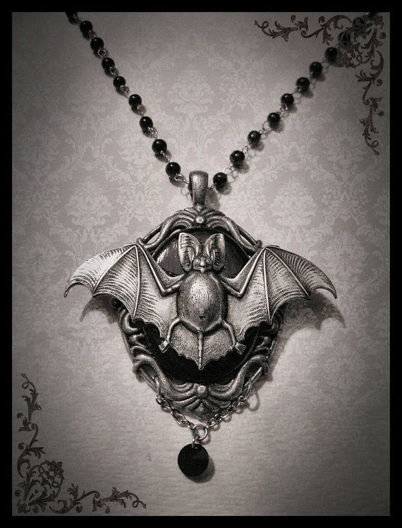 Gothic Victorian Romantic Antique Silver and Black Cameo with Silver Bat Jewelry Necklace