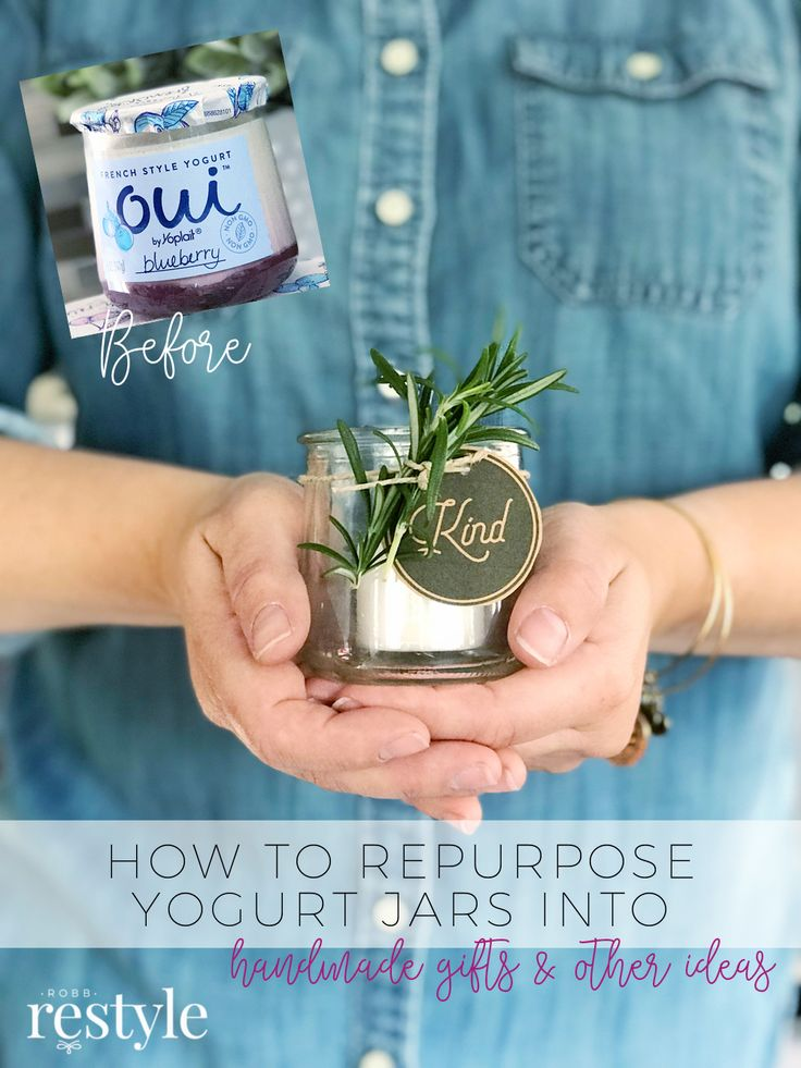 how to repurpose yogurt jars into handmade gifts