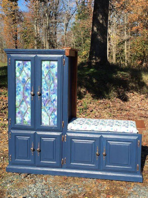 upcycled entertainment center becomes a great entryway bench, entertainment rec rooms, home decor, painted furniture, repurposing upcycling, rustic furniture