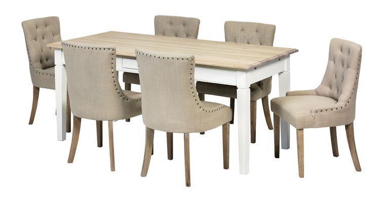 Spisegruppe - noen få eller mange rundt bordetIsabell spisestueIsabell bord + 6 Tuva stoler, antikk hvit