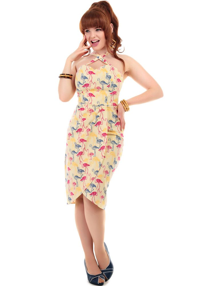 Mahina Flamingo Print Sarong Dress by Collectif