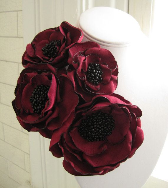fabric flower brooch Made To Order four bloom by RiRiFisch