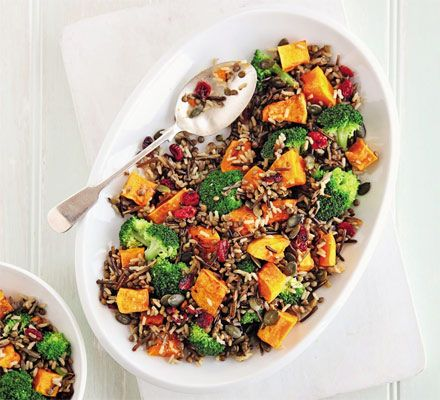 Butternut squash salad recipe - Recipes - BBC Good Food (Ingredients:    1 butternut squash , peeled, deseeded and diced   2 tsp olive oil   50g wild and brown rice   50g Puy lentils   1 head broccoli , cut into florets   50g dried cranberries   25g pumpkin seeds   juice 1 lemon)