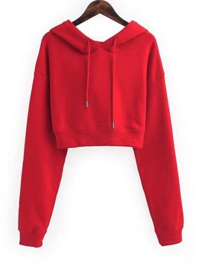 SHARE & Get it FREE | Drawstring Cropped Plain Hoodie - Red SFor Fashion Lovers only:80,000+ Items • New Arrivals Daily Join Zaful: Get YOUR $50 NOW!