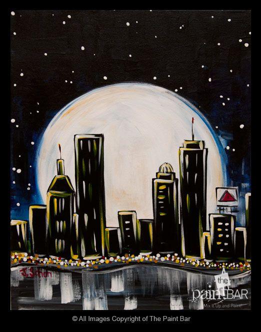 Moonlit #Boston Painting - Jackie Schon, The Paint Bar
