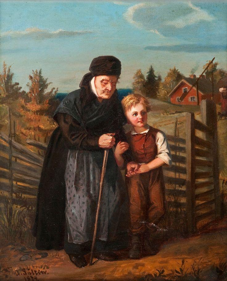 Alexandra Frosterus-Såltin (1837-1916) POIKA JA ISOÄITI / Boy and grandmother 1874 - Finland