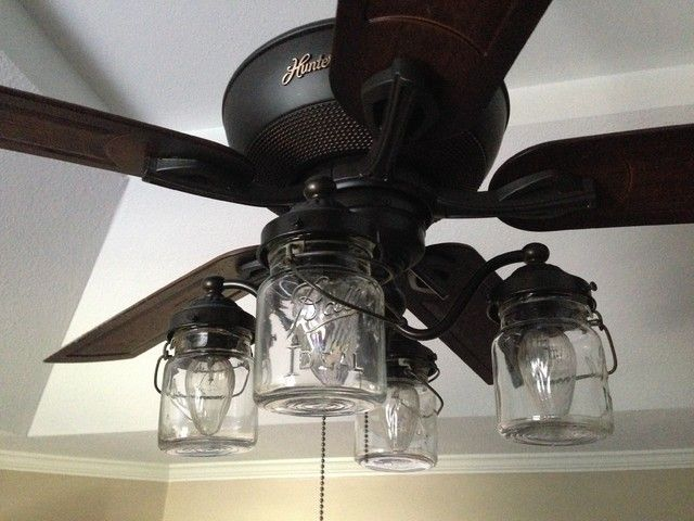 Mason Jar CEILING FAN Light Kit Of Vintage Pint Jars