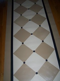 Painted Linoleum runner with instructions - if floor painted with saltillo tiles, and fir flooring refinished - or at least screened, cleaned, and coated.