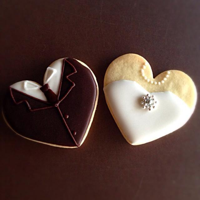 ハート型で新婦新婦のアイシングクッキーを作りました( ^ω^ ) - 130件のもぐもぐ - 新郎♡新婦 アイシングクッキー by soramina