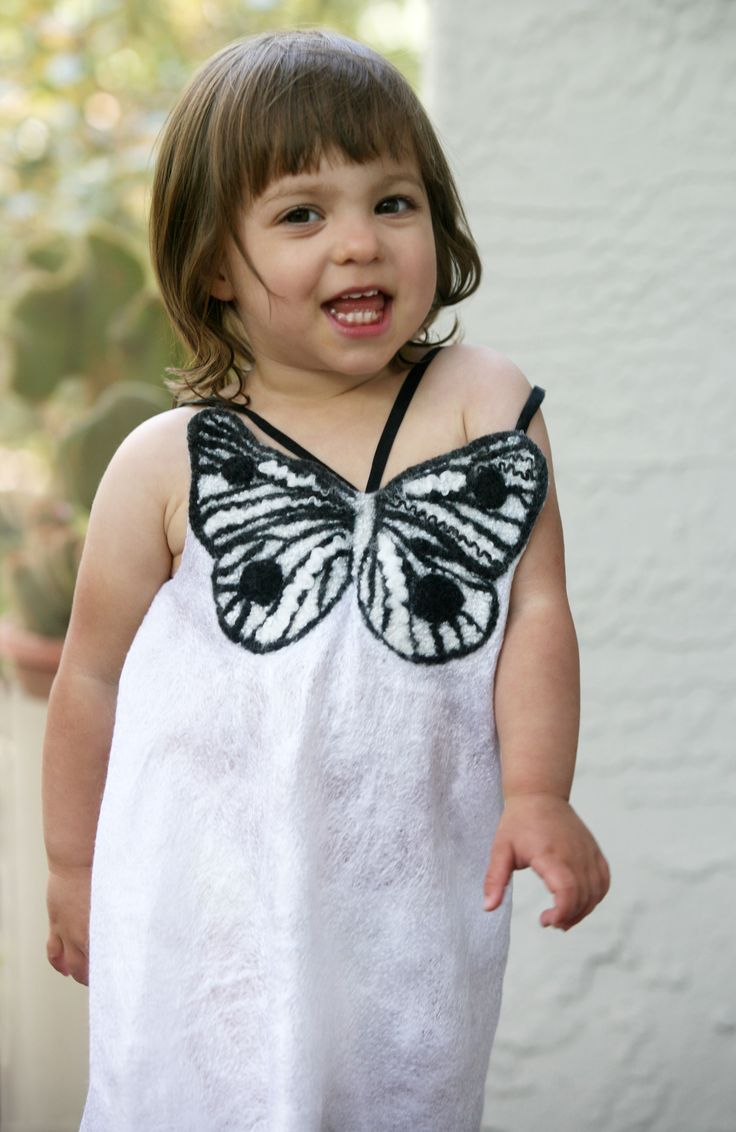 Beautiful one of a kind silk butterfly dress for a little girl