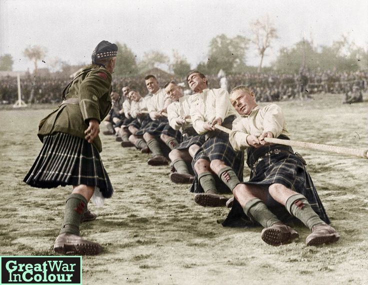 whirl-bill:  greatwarincolour:The Canadian Seaforth Highlanders compete in the tug-of-war at an athletic meet in France, September 1917.Source: Library and Archives Canada  beardedboggan
