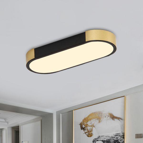 Rectangular Corridor Ceiling Flush Mount Metallic Led Modern