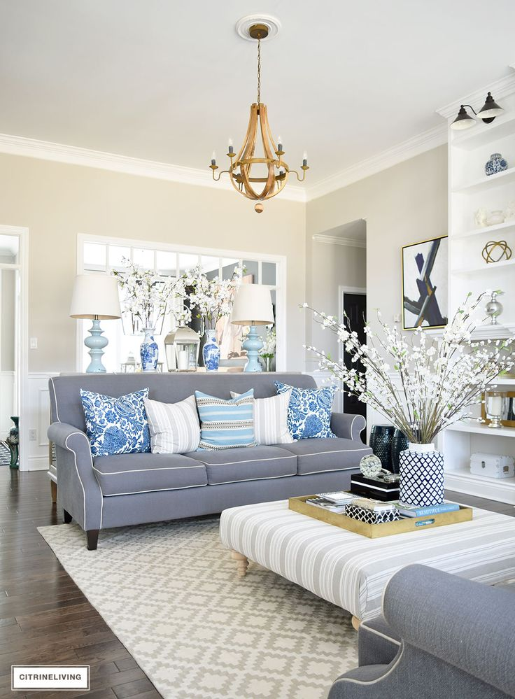 25 best grey couch rooms ideas on pinterest grey living - Grey and blue living room furniture ...