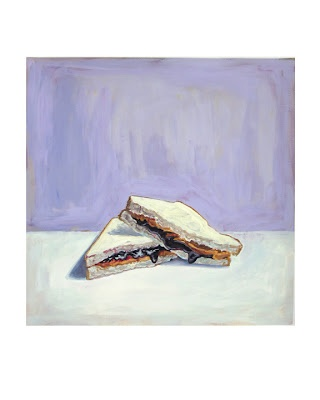 painting of a peanut butter and jelly sandwich