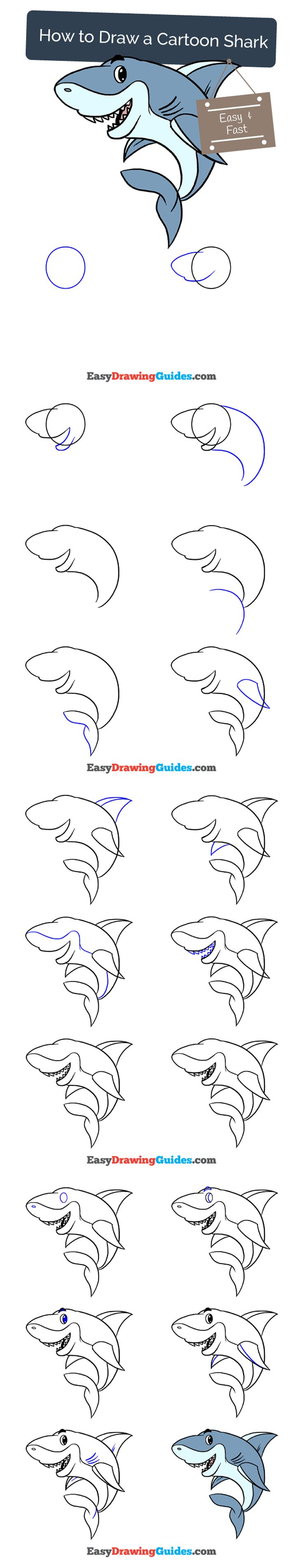 Learn How to Draw Cartoon Shark: Easy Step-by-Step Drawing Tutorial for Kids and Beginners. #Cartoon Shark #drawingtutorial #easydrawing See the full tutorial at https://easydrawingguides.com/draw-cartoon-shark/.
