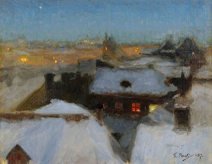 Georg Pauli (Swedish, 1855-1935): Winter Evening at Söder, Stockholm, 1889. Gothenburg Museum of Art.