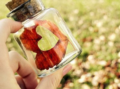 bottled heart...Heart Of Gold, Jars Of Heart, Autumn Leaves, Fabrics Heart, Quote, Cute Ideas, Two Heart, Paper Punch, Bottle