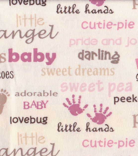 Nursery Flannel Fabric-Blush Hand Feet & Word Print at Joann.com