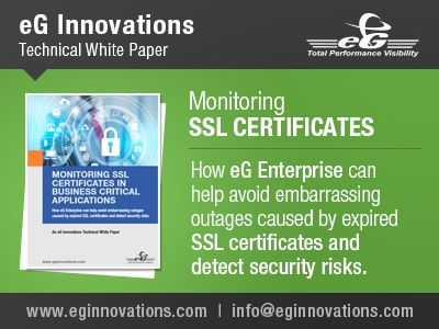 eG Innovations Technical White Paper - Monitoring SSL Certificates. Download SSL Whitepaper - http://www.eginnovations.com/white-papers.htm