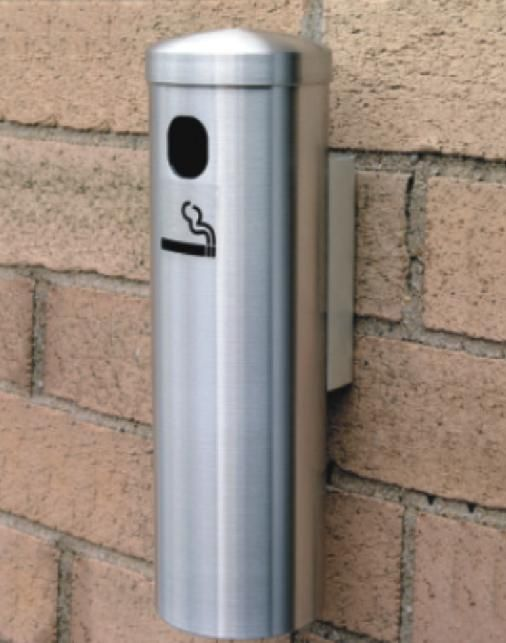 Looking for a stylish, sleek, and durable solution for cigarette disposal, look no further. This 12 Smoker Post Ash Wall Mount Satin Aluminum Receptacle is d