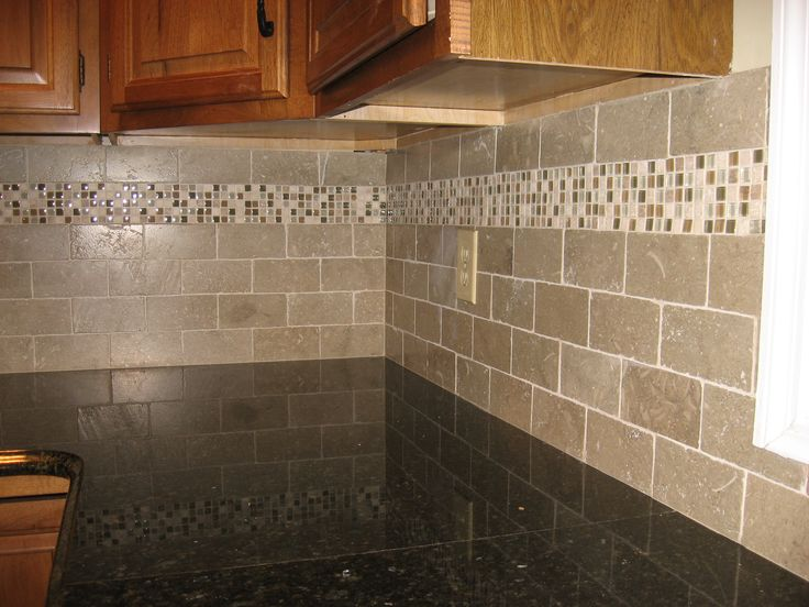 subway tiles with mosaic accents | ... backsplash with tumbled limestone  subway tile and mixed mosaic accent | Back Splash | Pinterest | Kitchen  backsplash, ...