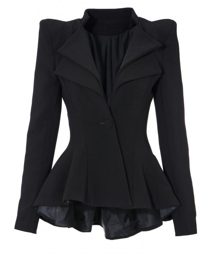 Amazon.com: Lookbookstore Women Double Notch Lapel Sharp Shoulder Pad Asymmetry Blazer: Clothing