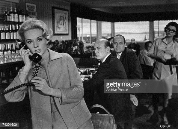 0 Tippi Hedren makes a telephone call in a scene from 'The Birds'