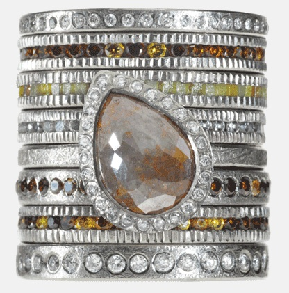 Todd Reed: diamond ring stack  would like the center stone to be a more odd shape than a teardrop