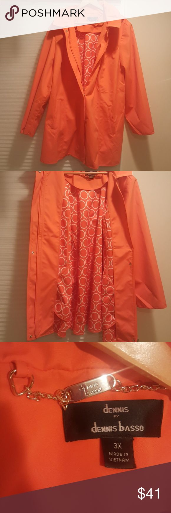 Orange/white retro raincoat This raincoat is new without tags, and its part of a designers sample collection.  Its got a zip up and snap front, two large outer pockets, and a hood that unzips and is removable.  This raincoat is chic and trendy and super functional. Dennis Basso Jackets & Coats