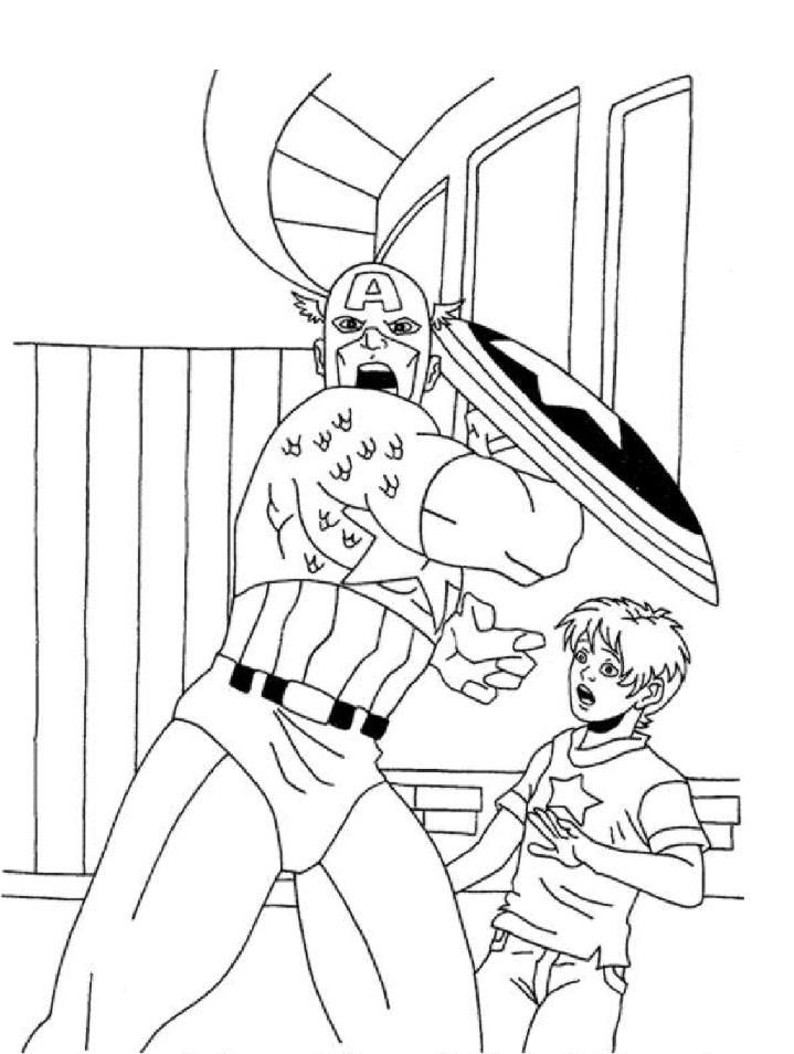 Captain America Cartoon Coloring Pages 13