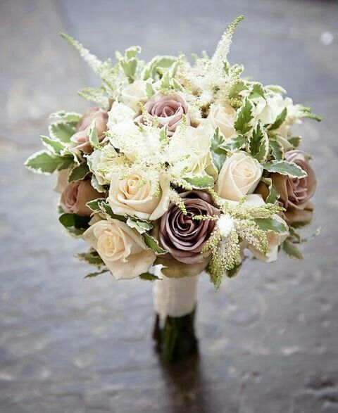 About Marriage Marriage Flower Bouquet 2013: Ivory/Cream Roses, Lavender/Taupe Amnesia Roses, White