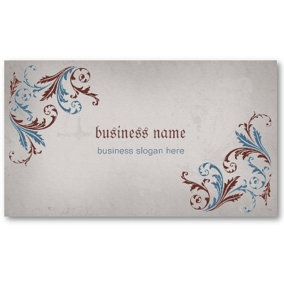 Business card. Elegant brown and blue floral swirls on vintage grunge background. Fully customizable. #business #card #vintage (©Ruxique)