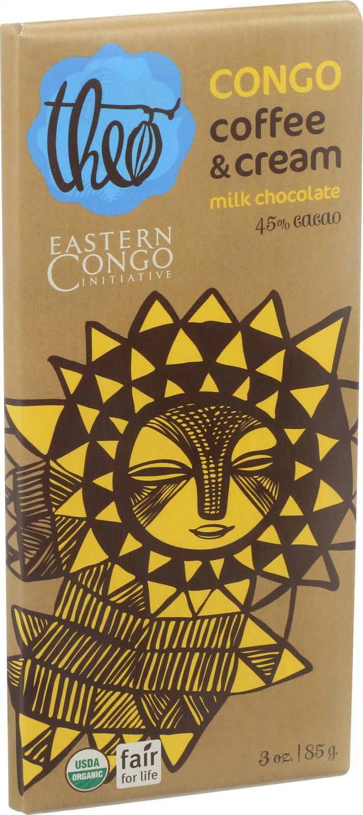 Theo Chocolate Organic Chocolate Bar - Partner - Milk Chocolate - 45 Percent Cacao - Congo ECI Coffee and Cream - 3 oz Bars - Case of 12