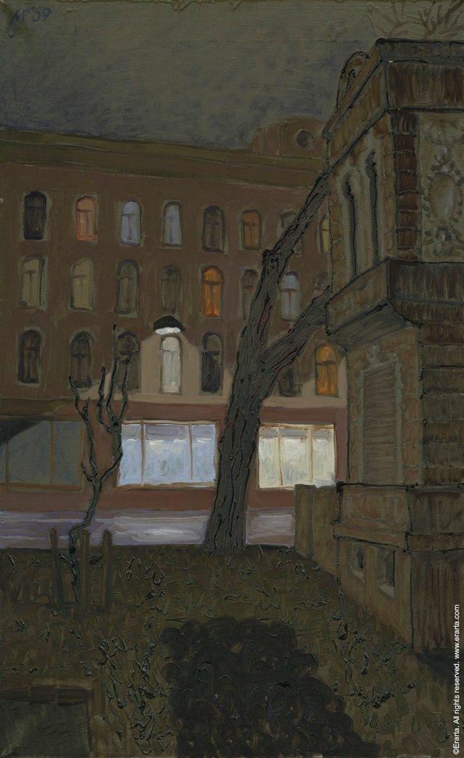 """Типичный весенний Петербург - немного грязный, еще пока что тихий, как будто не проснувшийся.  """"Тихий вечер"""", Рубен Монахов. http://shop.erarta.com/ru/shop/catalogue/pictures/detail/RM26032012010/"""