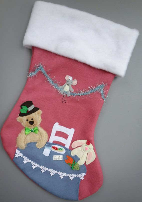 Pink Personalized Christmas Stocking Tea by HeartfeltStockings