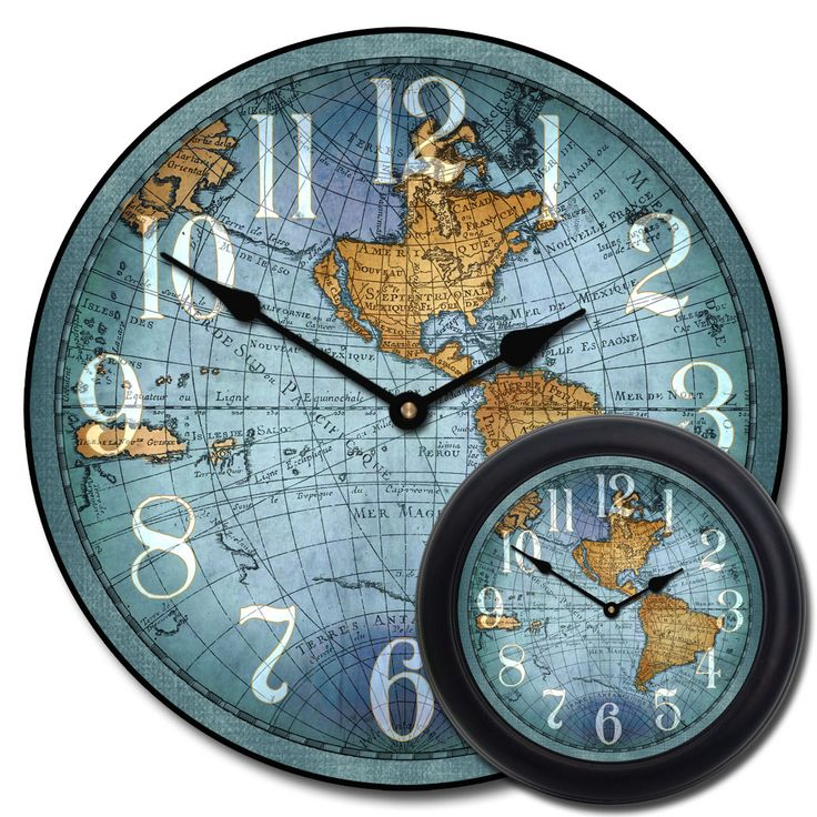 22 best wall clocks oversized images on pinterest family rooms this blue version of our world map wall clock is our favorite by far it gumiabroncs Gallery
