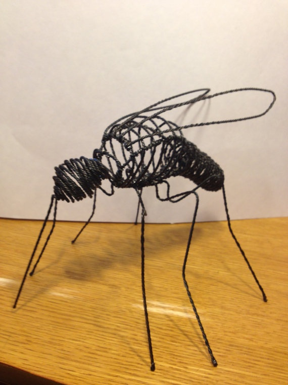 I love making large bugs they are interesting and captivating. Here we have a wire sculpture of an over sized mosquito a bug everyone loves to hate. This one is a vegan so no frets. The Mosquito is constructed in such a way as to have be kinetic in nature which gently moves in the breeze or when bumped.