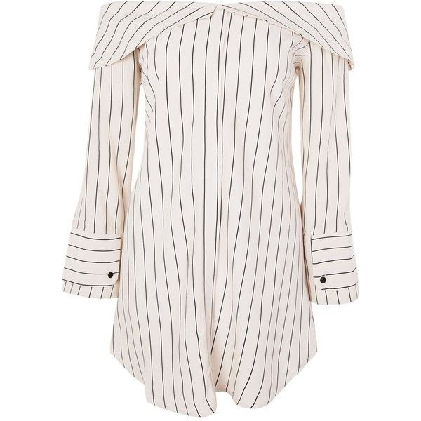 Topshop Petite Stripe Bardot Shirt Dress ($59) ❤ liked on Polyvore featuring dresses, ivory, ivory dress, t-shirt dresses, petite dresses, striped dress and long sleeve striped dress