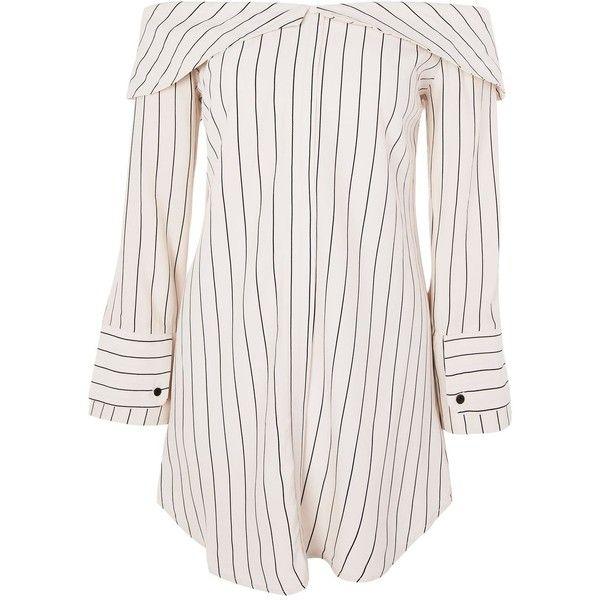 Topshop Petite Stripe Bardot Shirt Dress ($59) ❤ liked on Polyvore featuring dresses, vestidos, tops, topshop, ivory, ivory dress, white long sleeve dress, long sleeve shirt dress, petite white dresses and striped dresses