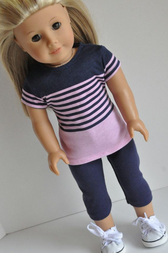American Girl Doll Clothes Navy and Pink Striped by CircleCSewing