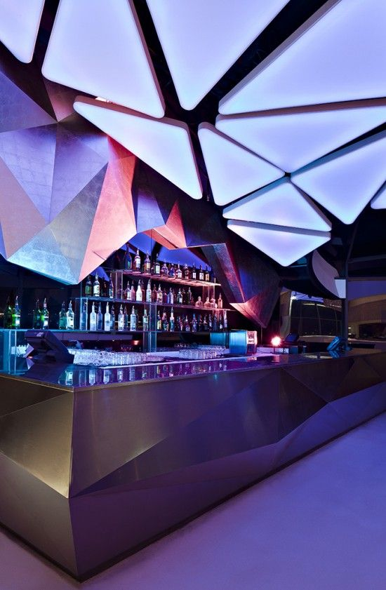 modern bar - angular ceiling installation