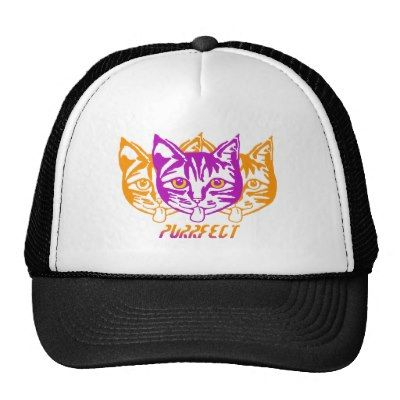 'Purrfect' cap for Kids by Mollycat.on @zazzle #caps #baseball #cats #kids #hats…